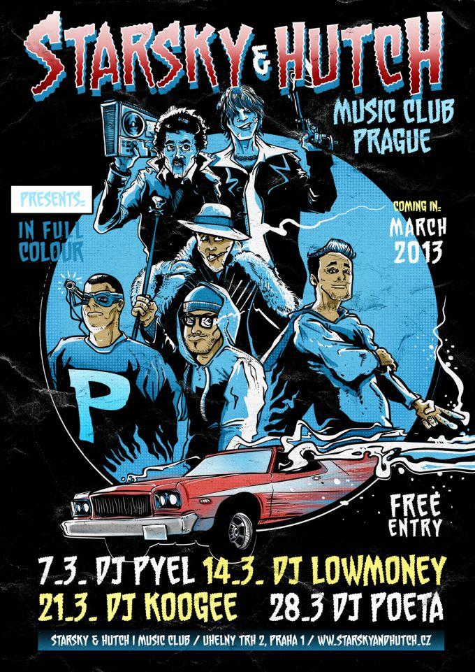 Starsky and Hutch music club Prague poster