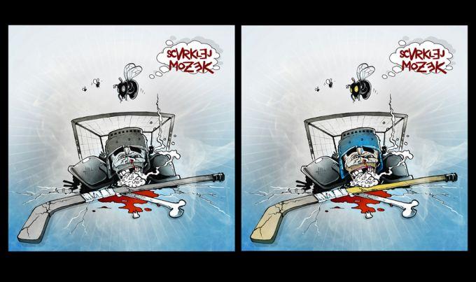 obal cd legendární hokej-core kapely Scvrkej Mozek