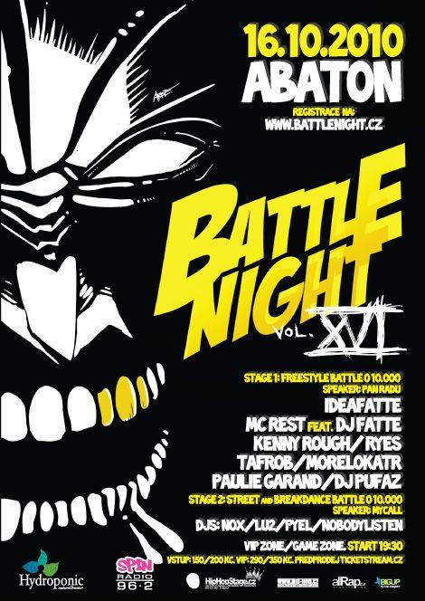 battle night XVI ilustrace+typo