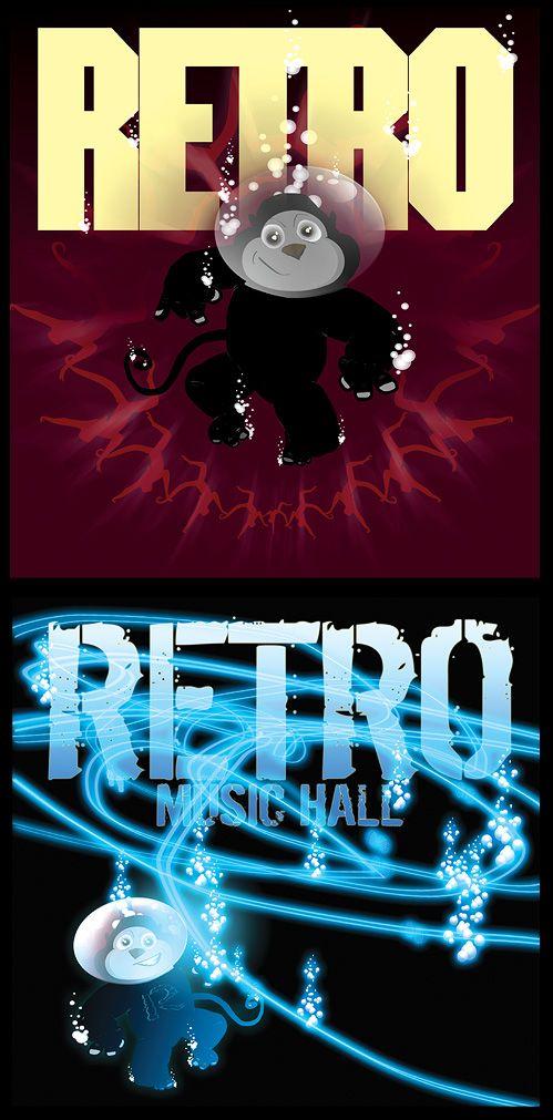 Monkey journeys, art for RETRO MUSIC HALL promo mothly posters
