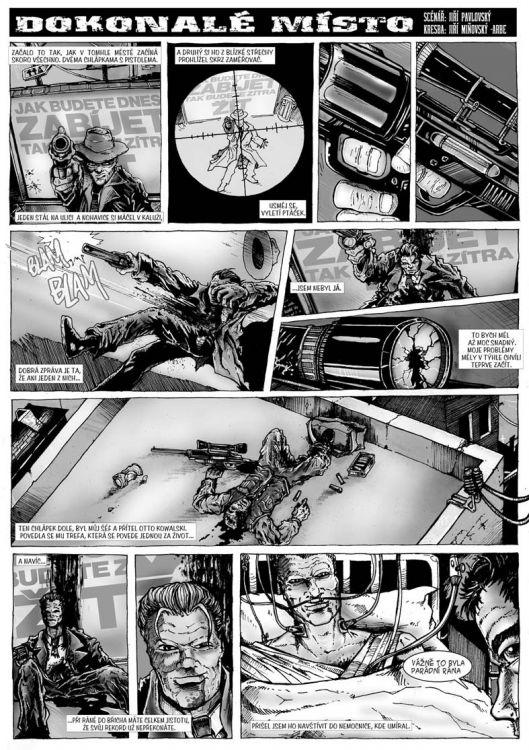 comics pro Zkrat magazin, scénář Jiří Pavlovský (CREW), strana 1