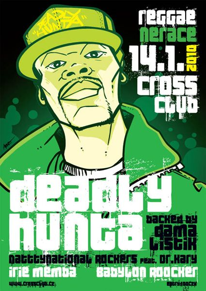 Deadly Hunta, UK, promo ilustration 4 show at Cross club, Prague