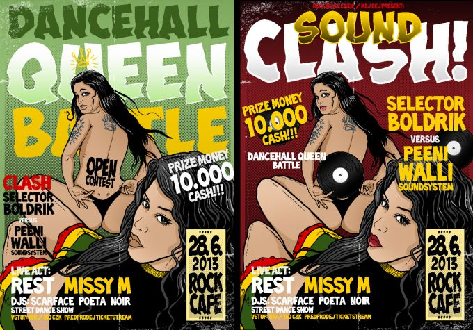 unused versions of Dancehall Queen/SoundClash posters